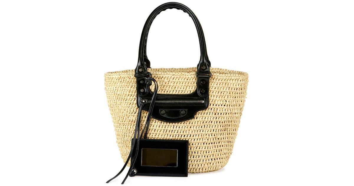 Balenciaga Panier Large Striped Raffia Tote Bag 30FId