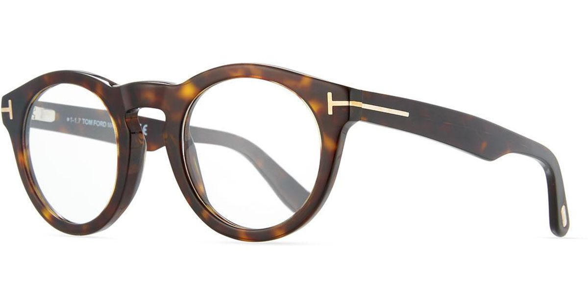 d36f6e2e2c357 Lyst - Tom Ford Soft Rounded Acetate Optical Frames in Brown