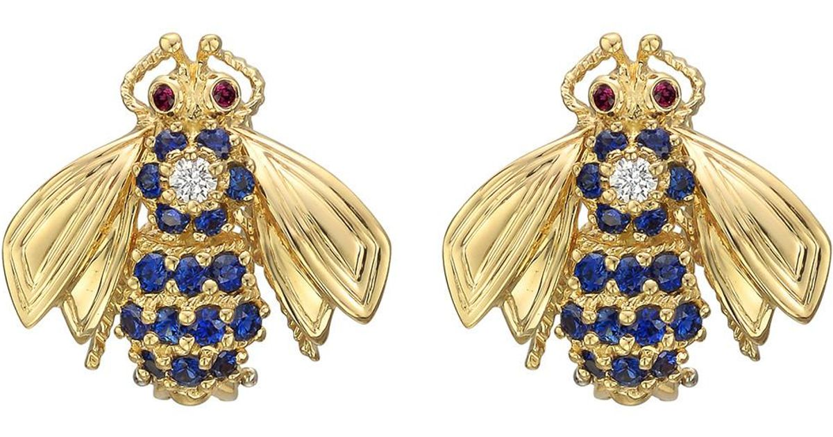 a7fb46431 Tiffany & Co. 18k Yellow Gold & Gem-set Bee Earrings in Yellow - Lyst