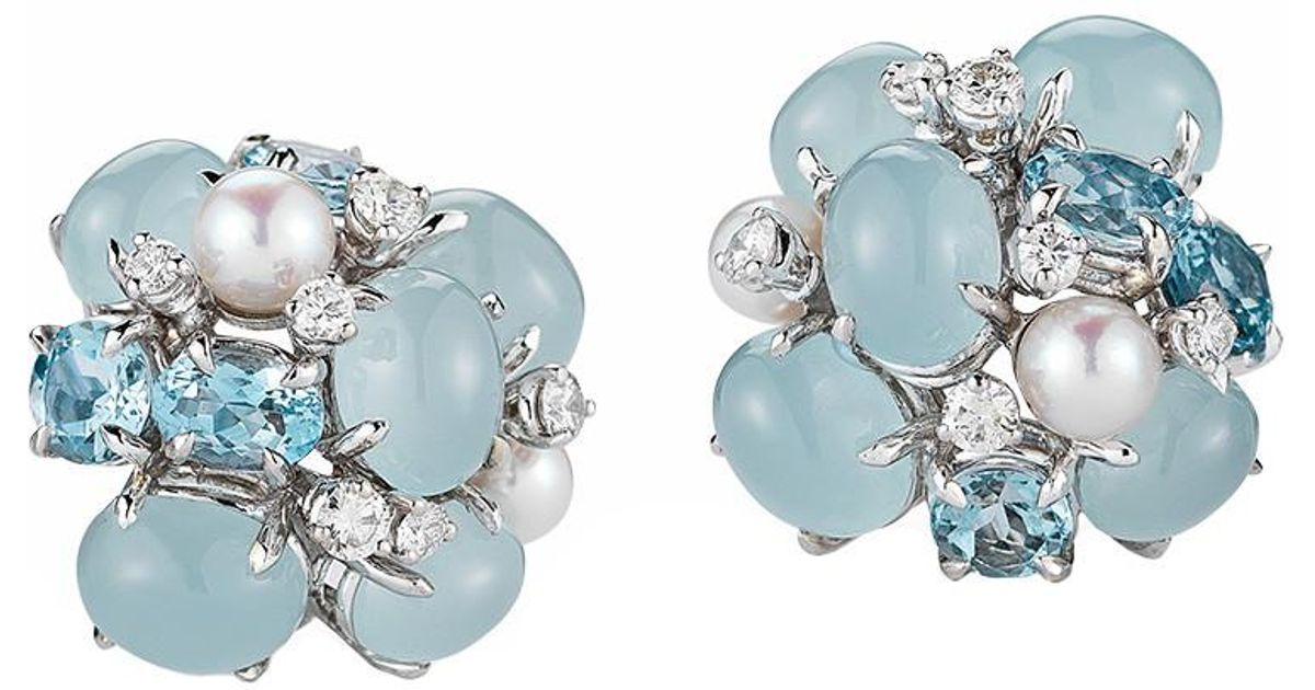 Lyst Seaman Schepps Aquamarine Pearl Diamond Bubble Earrings In Blue