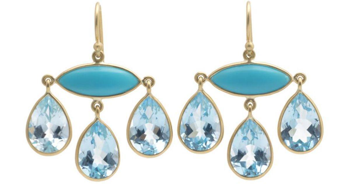 Lyst kothari turquoise blue topaz chandelier earrings in blue aloadofball Image collections