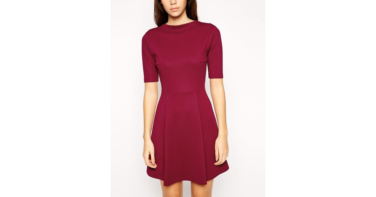 51989da18e4 Lyst - ASOS Skater Dress In Texture With Funnel Neck in Purple