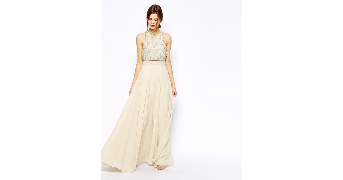 Asos Maxi Dress With Embellished Crop Top In Natural
