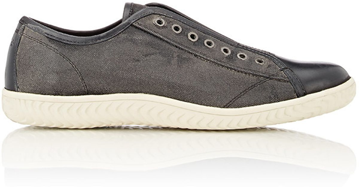 varvatos canvas leather laceless sneakers in gray