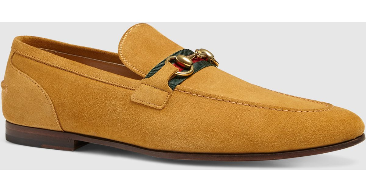 caba86c7a9f57f Lyst - Gucci Suede Horsebit Loafer With Web in Yellow for Men