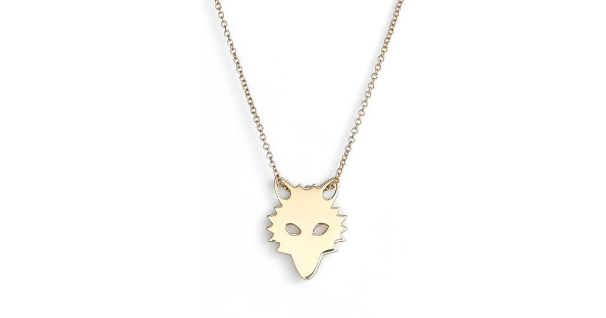 Lyst Ginette Ny mini Wolf Pendant Necklace in Metallic
