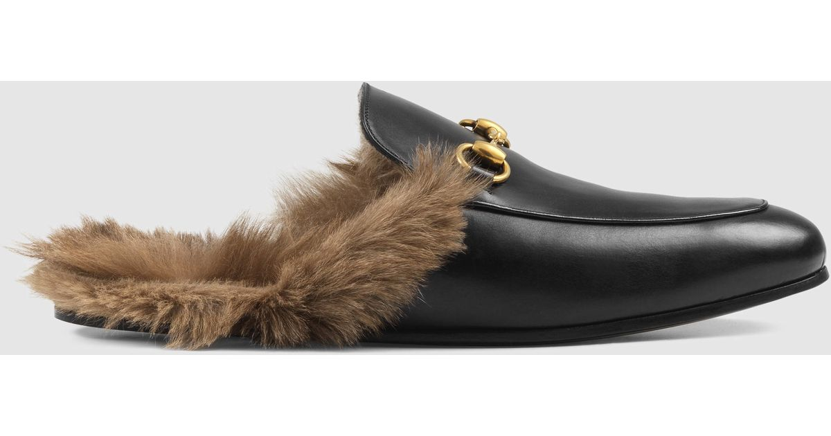 8346656ee3c0 Gucci Princetown Leather Slipper in Black for Men - Lyst
