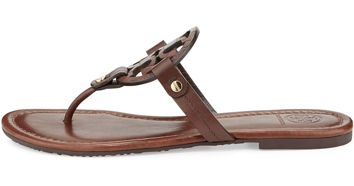 6589952001edec Lyst - Tory Burch Miller Logo Flat Sandal in Brown