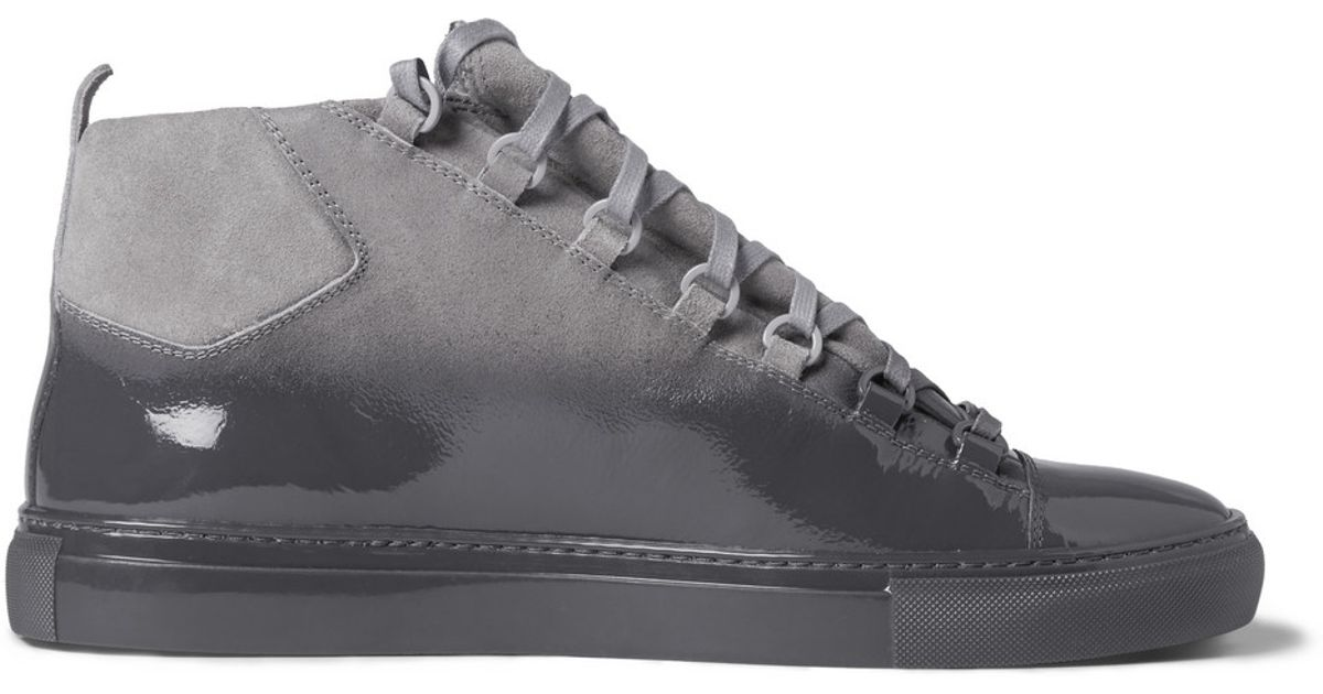 7188a923adef Lyst - Balenciaga Arena Glossed-Suede High Top Sneakers in Gray for Men