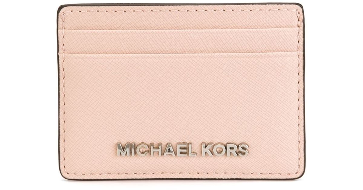 lyst michael michael kors jet set travel cardholder in pink - Pink Card Holder