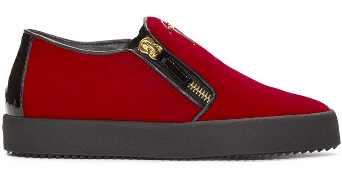 66fedb8d7d0f Lyst - Giuseppe Zanotti Ssense Exclusive Red   Black Velour Slip-on London  Sneakers in Red
