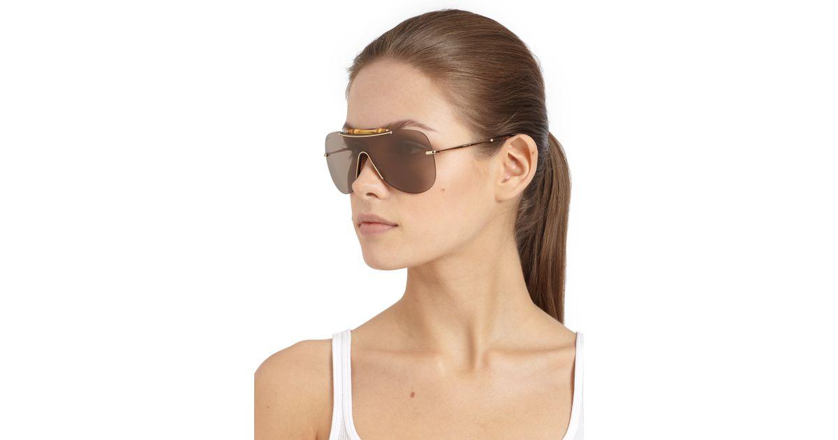 Gucci Shield Sunglasses  gucci bamboo shield sunglasses in metallic lyst