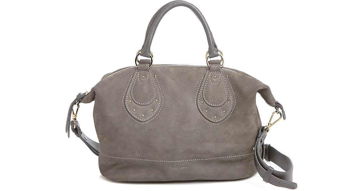 12ba7f2f575b Lyst - See By Chloé See By Chloé Janis Nubuck Satchel in Gray