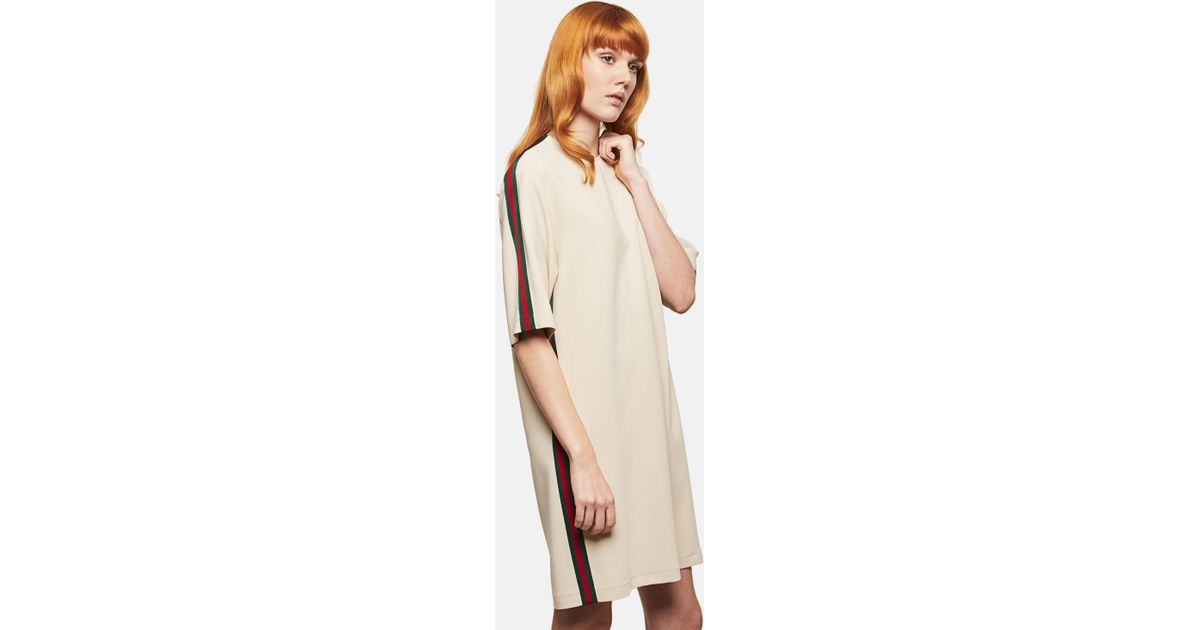 8188dbc03 Gucci Stretch Viscose Tunic Dress With Web in Natural - Lyst