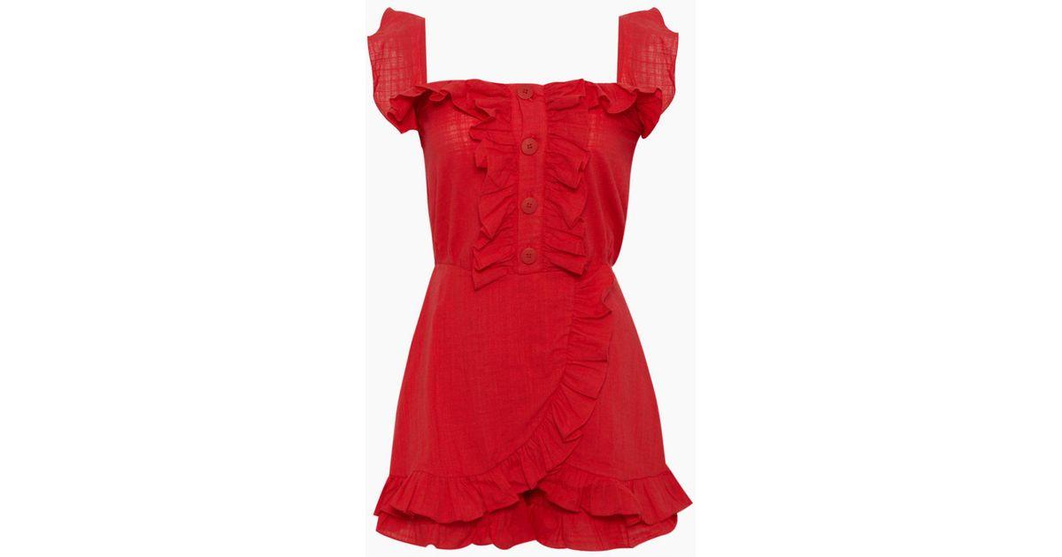 7ec6a17e347a Lyst - Clube Bossa Follina Ruffle Romper - Pepper Red in Red