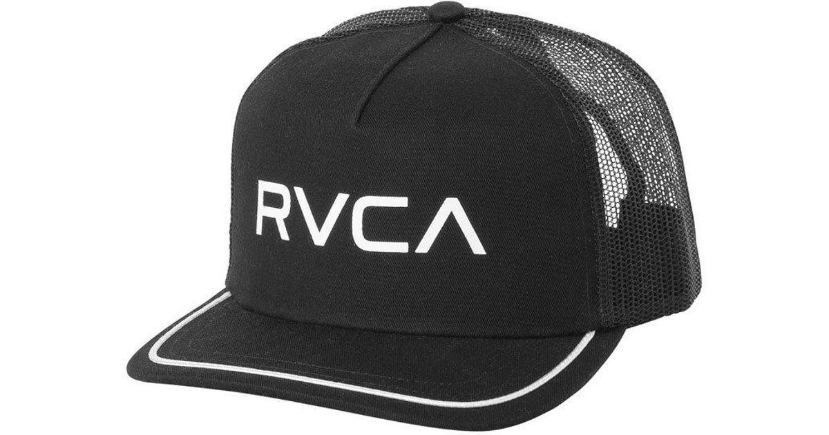 a726528ca00f9 clearance lyst rvca title trucker hat black in black f91ff ae23a
