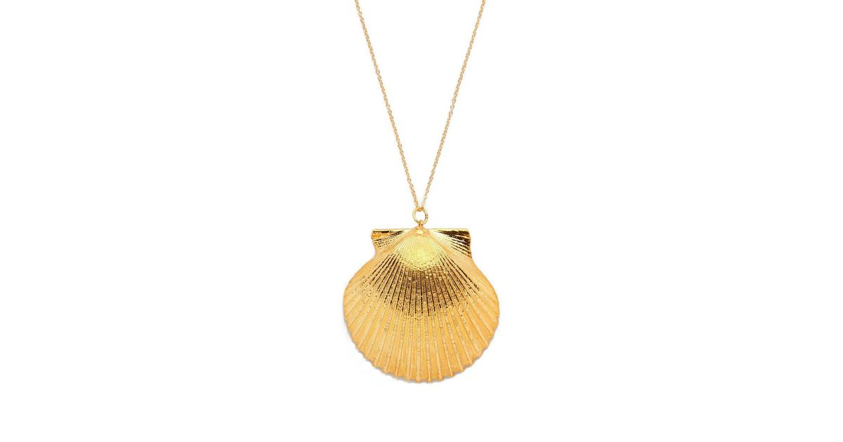 large shell index diamond necklace gold scallop textured pendant cut