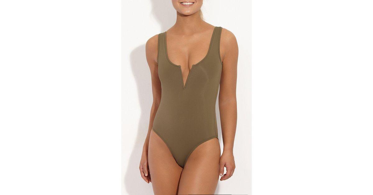 081e6d48915 Beth Richards Ines Tank One Piece Swimsuit - Khaki - Lyst