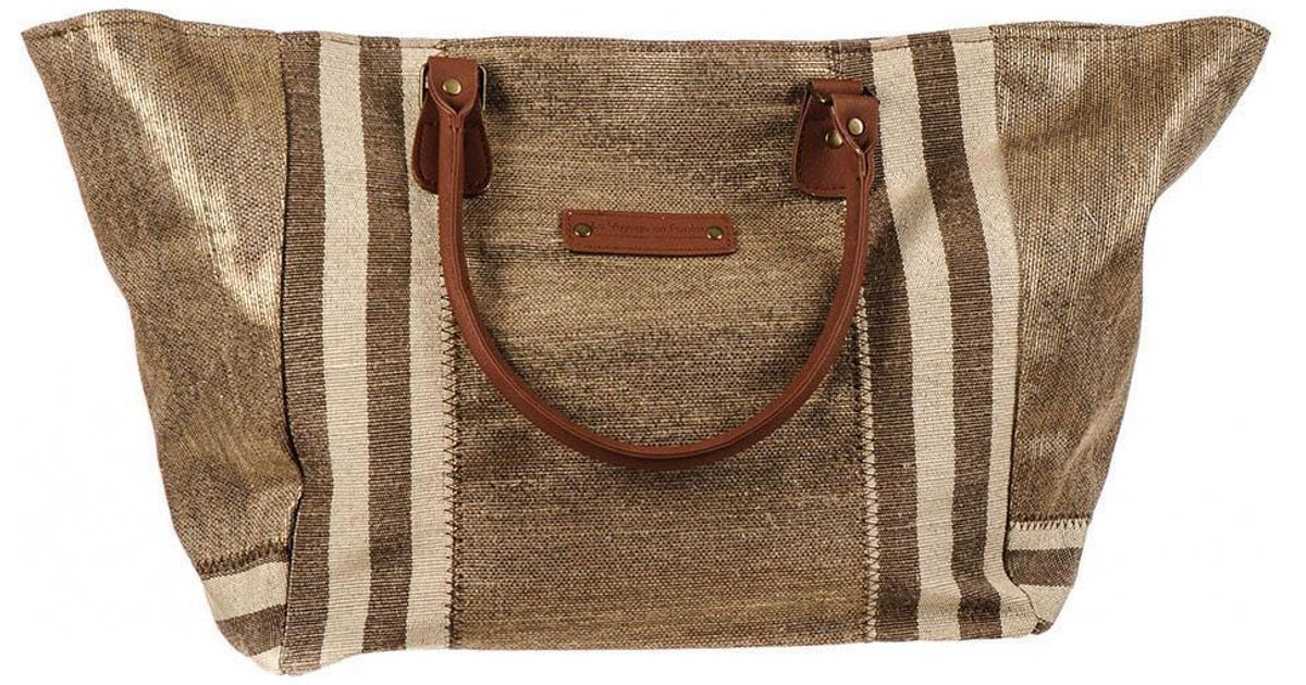 Porto Brown and Gold Hessian Beach Tote Bag MFpi3