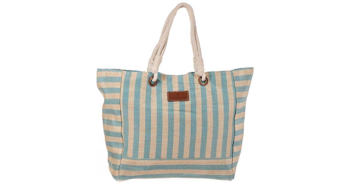 Varadero Brown Striped Hessian Beach Bag 6GQPzNSNTi