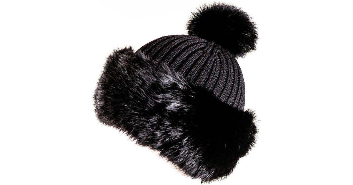 83194efbc9c Lyst - Black.co.uk Black Rabbit Fur Bobble Hat in Black