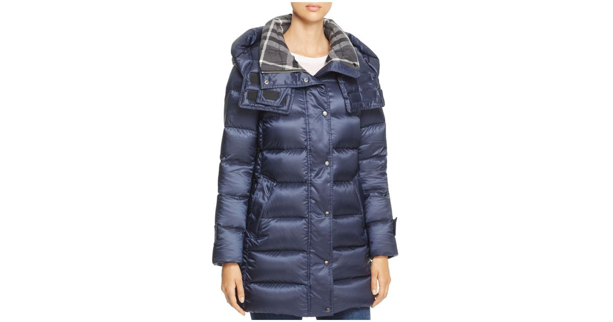 80ffd9ff2 Burberry Strettingham Down Puffer Coat in Blue - Lyst