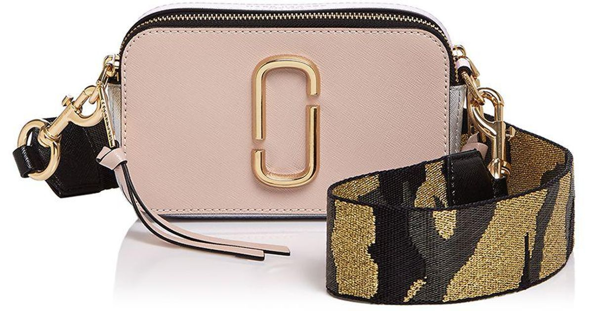 Lyst Marc Jacobs Snapshot Camo Strap Color Block Leather Camera Bag In Pink