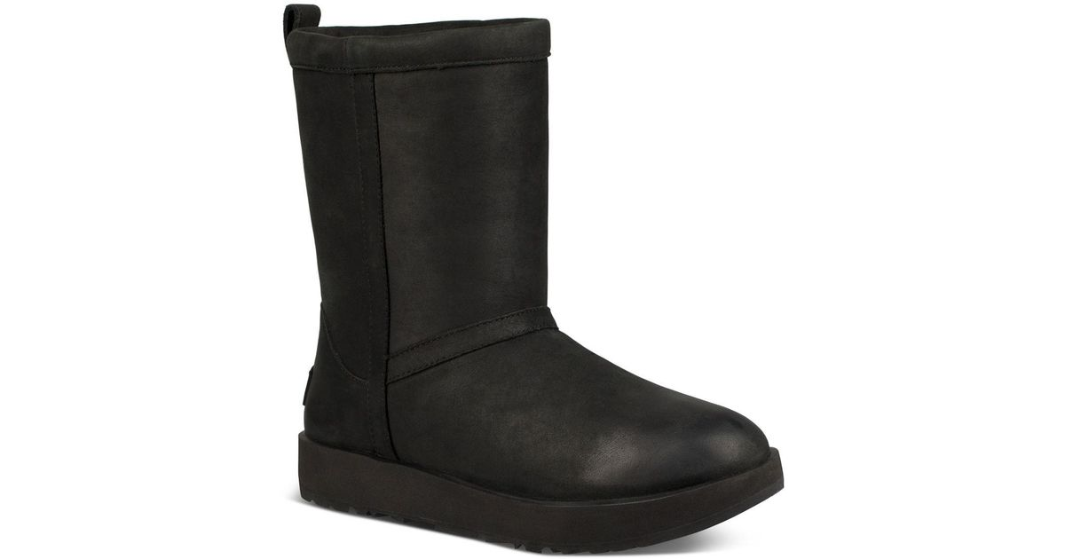 UGG Women's Classic Short Waterproof Leather & Sheepskin Booties qoxnAU
