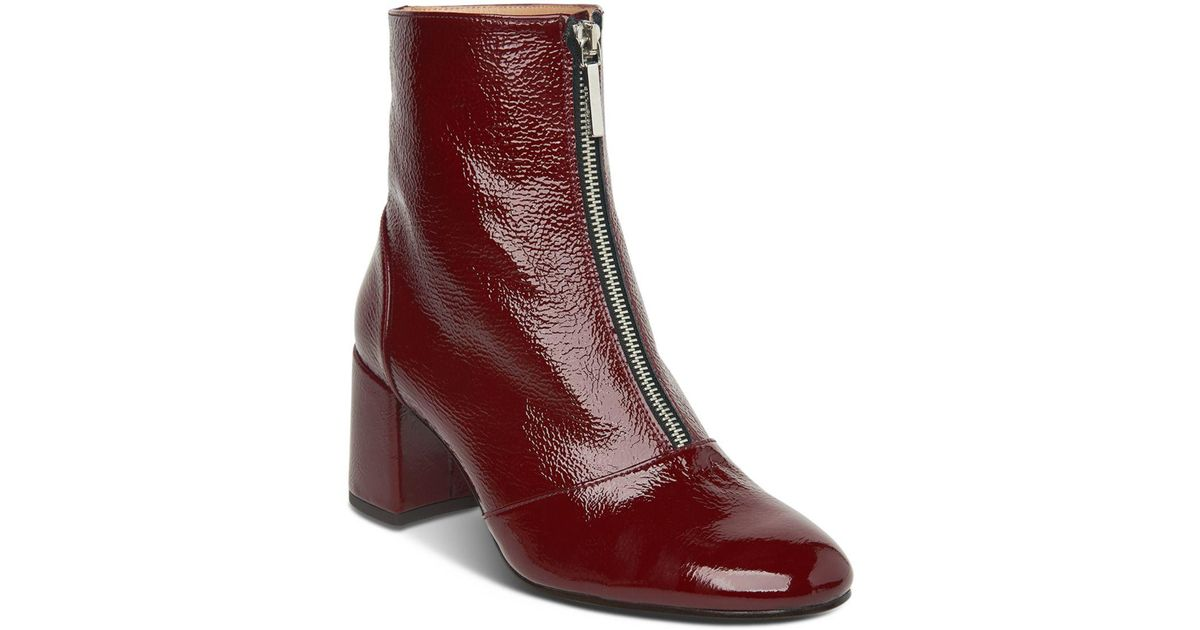 54a51a1ee78 Whistles - Red Women's Rowan Round Toe Patent Leather Mid-heel Booties -  Lyst