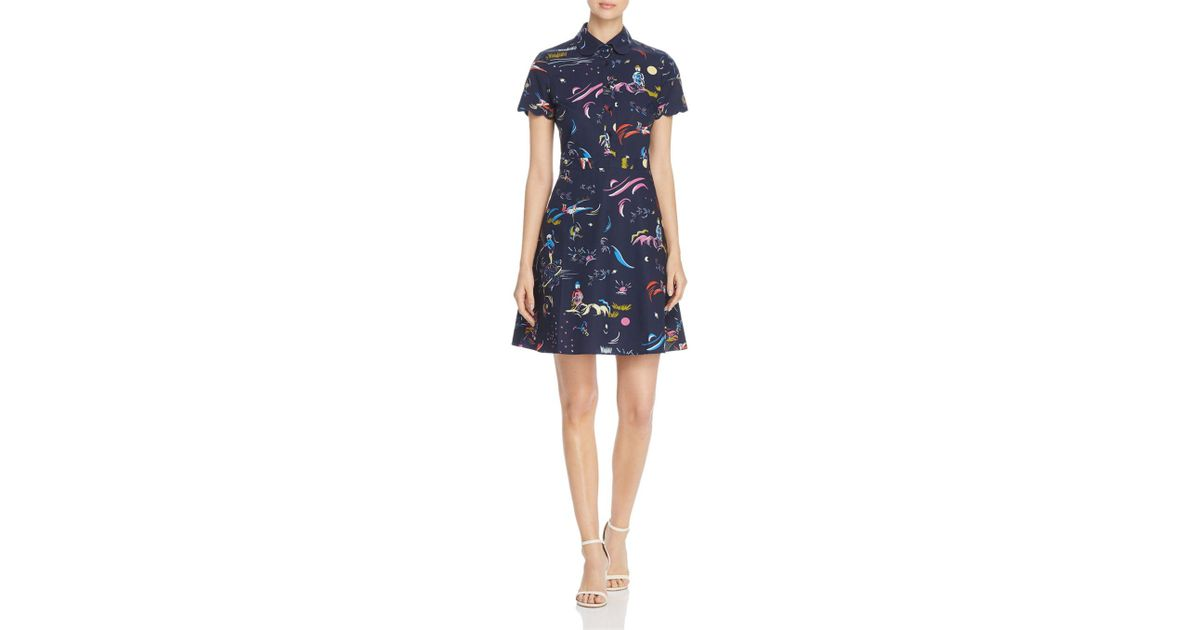 a1891bfc9c Lyst - Tory Burch Printed Scallop-edged Shirtdress in Blue