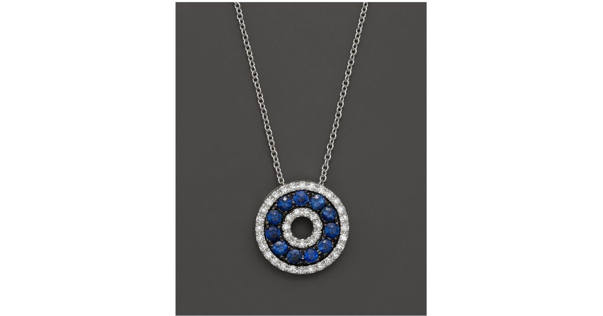 Lyst bloomingdales diamond and sapphire circle pendant necklace lyst bloomingdales diamond and sapphire circle pendant necklace in 14k white gold 18 in metallic mozeypictures Image collections