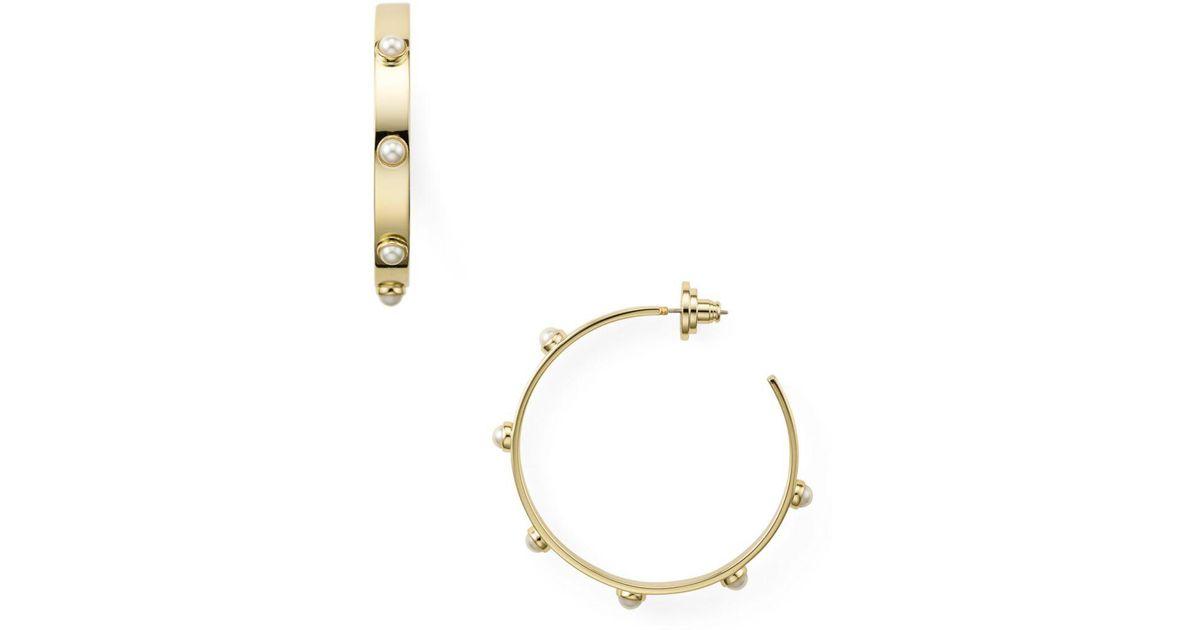 832209599 Lyst Tory Burch Stacked Studded Pearl Hoop Earrings In Metallic