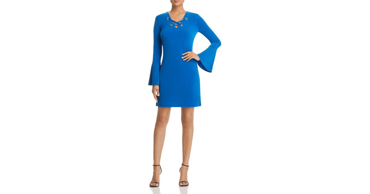 89836e0d2d Lyst - Michael Michael Kors Lace-up Grommet Dress in Blue