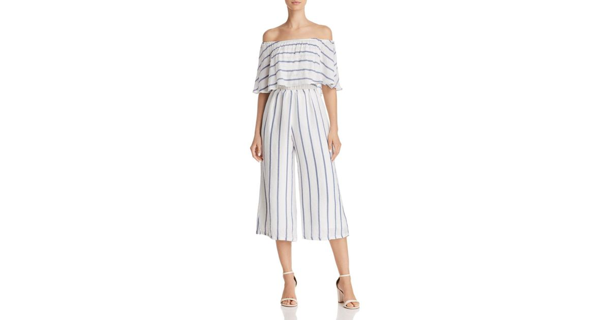 900965dbfce Olivaceous Off-the-shoulder Striped Cropped Jumpsuit in Blue - Lyst