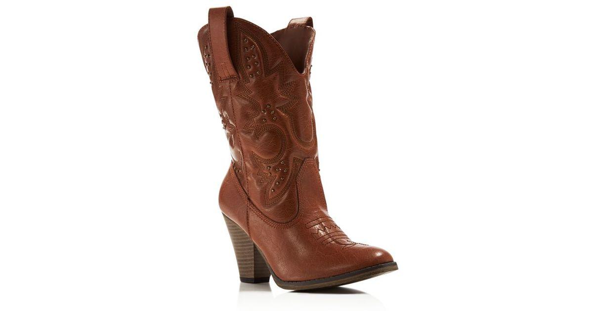 a6c9e508fea MIA - Brown Larue Cowboy Mid Heel Boots - Compare At $69 - Lyst