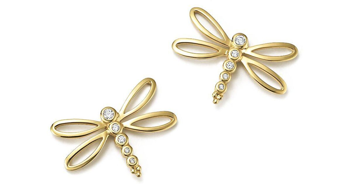 Lyst Temple St Clair 18k Yellow Gold Dragonfly Earrings With Diamonds In Metallic