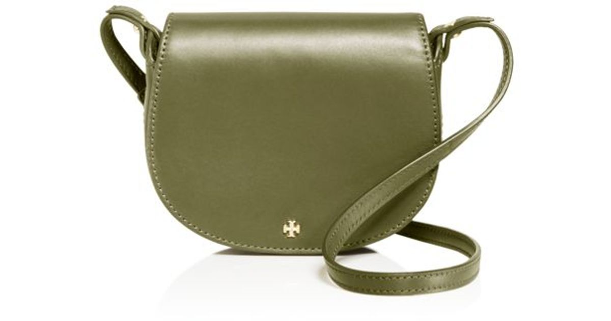 Lyst - Tory Burch Mini Leather Saddle Bag in Natural ef53f8fc02