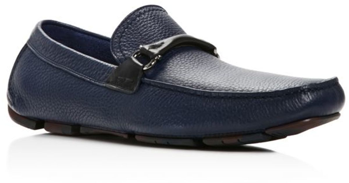 Lyst - Ferragamo Granprix Textured Calfskin Gancini Driver in Blue for Men d230b994ac0