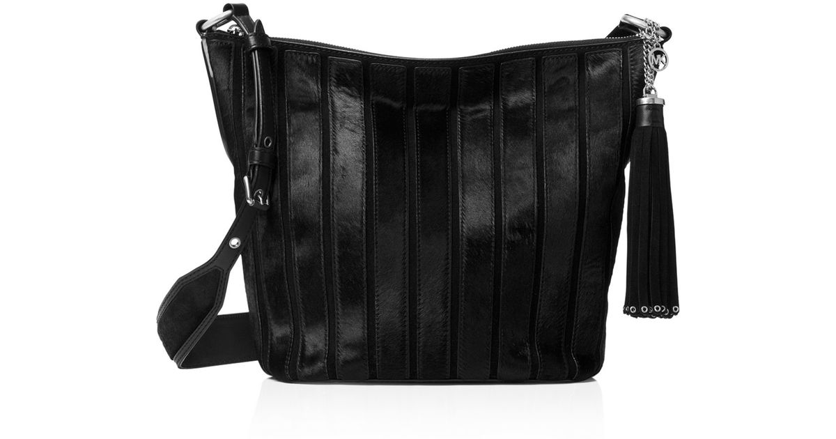 d665775cb9c5 Lyst - MICHAEL Michael Kors Medium Brooklyn Suede   Calf Hair Shoulder Bag  in Black