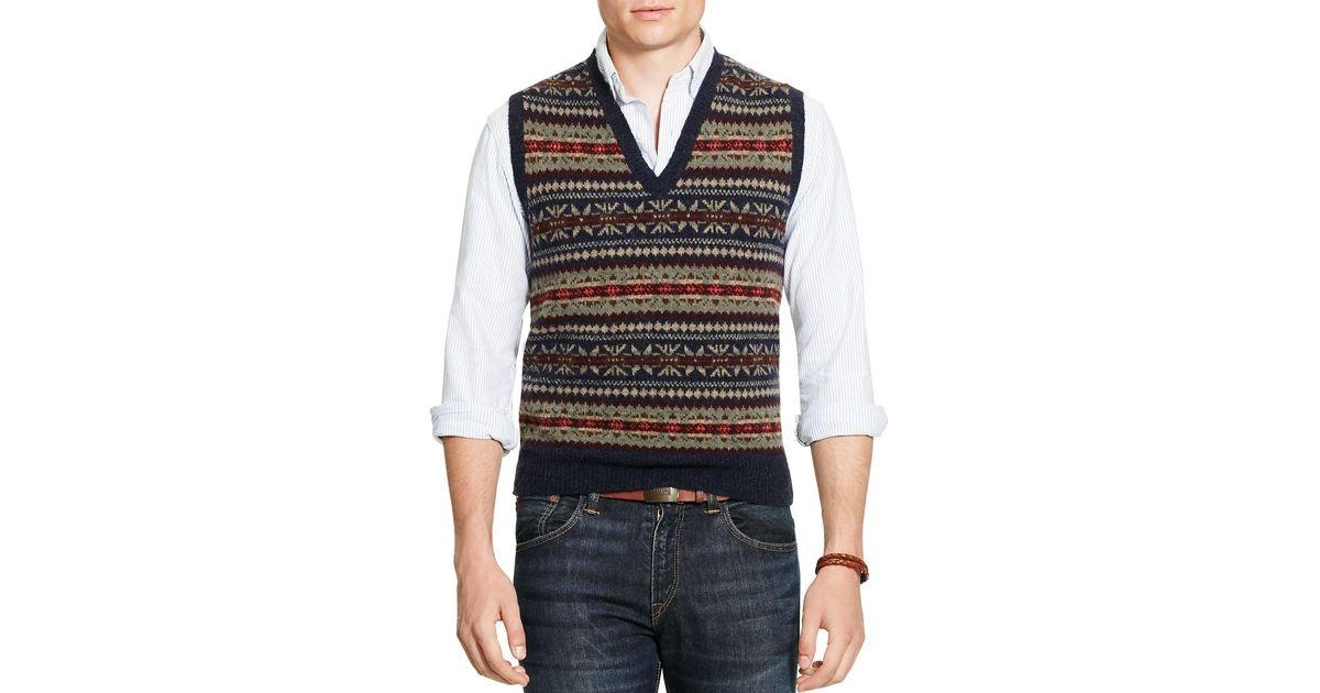 Polo ralph lauren Fair Isle Sweater Vest in Blue for Men   Lyst