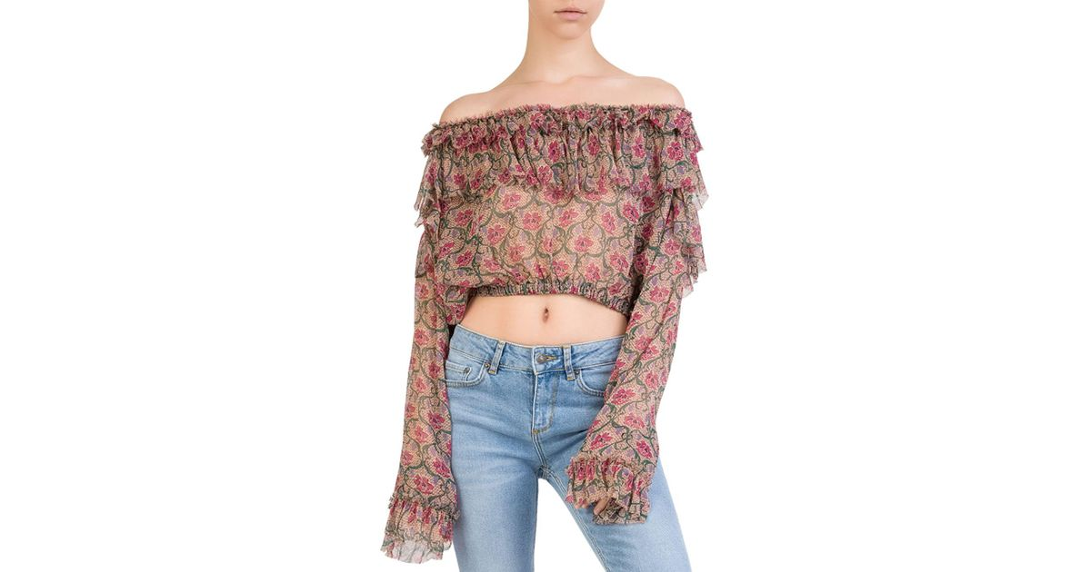 8c19f8023ac8e8 Lyst - The Kooples Ruffled Off-the-shoulder Floral Silk Top in Pink