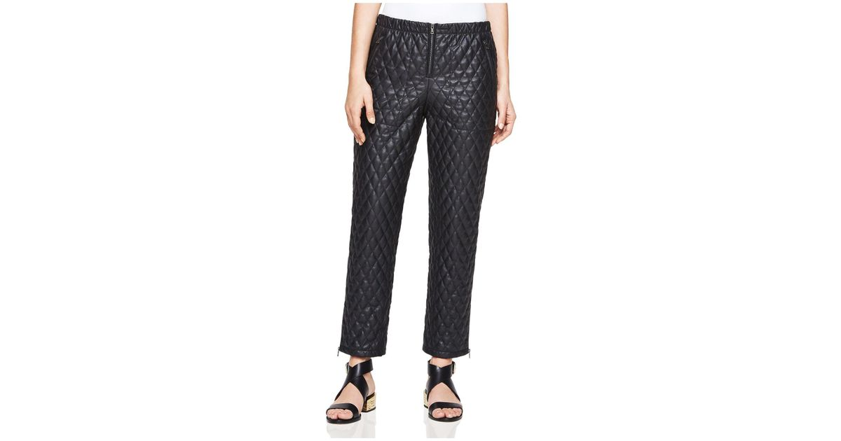 e2b13239f1ed9 BCBGMAXAZRIA Lucien Quilted Faux Leather Pants in Black - Lyst