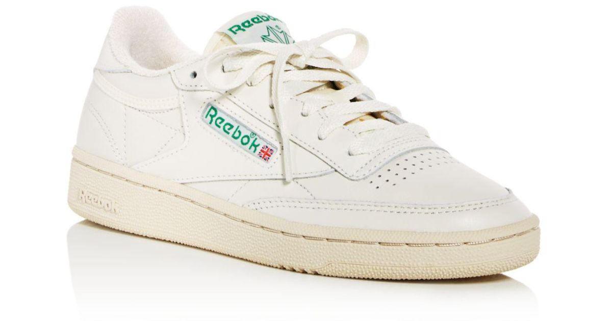 c532cfc77cd Lyst - Reebok Women s Club C 85 Vintage Leather Lace Up Sneakers in White