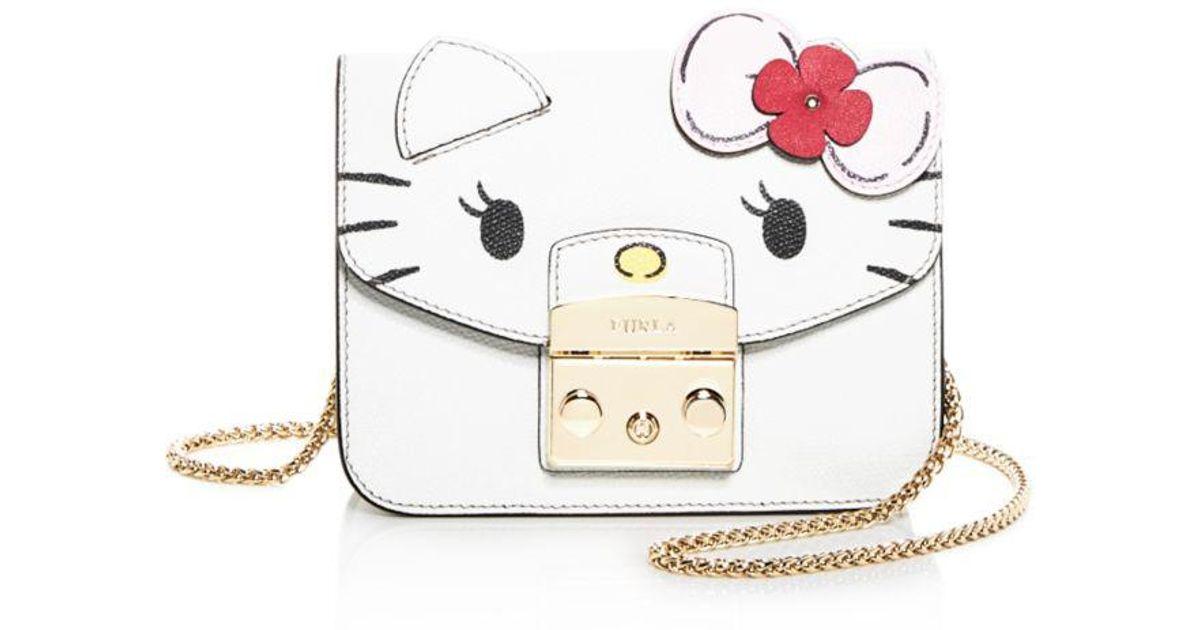 5a4e32618 Furla Hello Kitty Metropolis Mini Leather Crossbody in White - Lyst