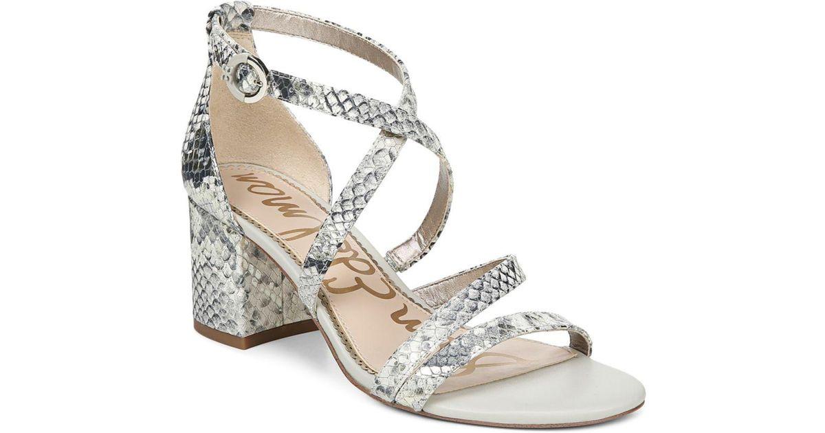 31b9806f0 Sam Edelman Women s Stacie Block-heel Sandals in White - Lyst