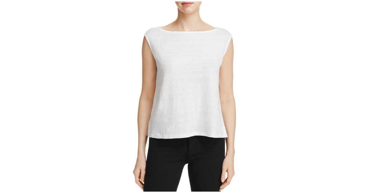 436dc349cebecd Lyst - Eileen Fisher Boat Neck Boxy Top in White