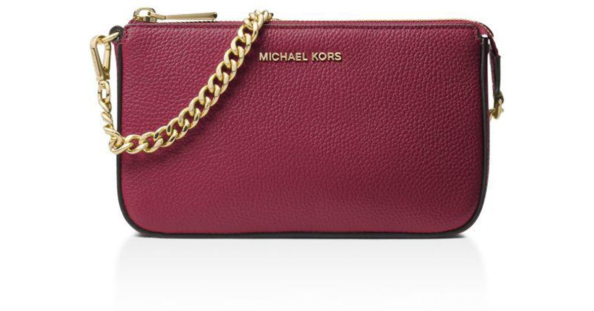 96195c27f47c15 MICHAEL Michael Kors Chain Pouchette Medium Leather Clutch - Lyst