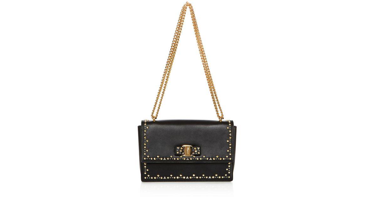 210b4b57b8 Lyst - Ferragamo Ginny Studded Medium Leather Shoulder Bag in Black