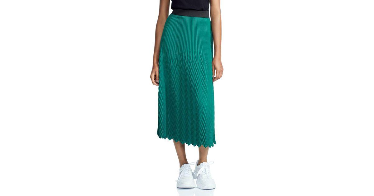a00f3d3c12 Maje Herringbone Pleated Maxi Skirt in Green - Lyst