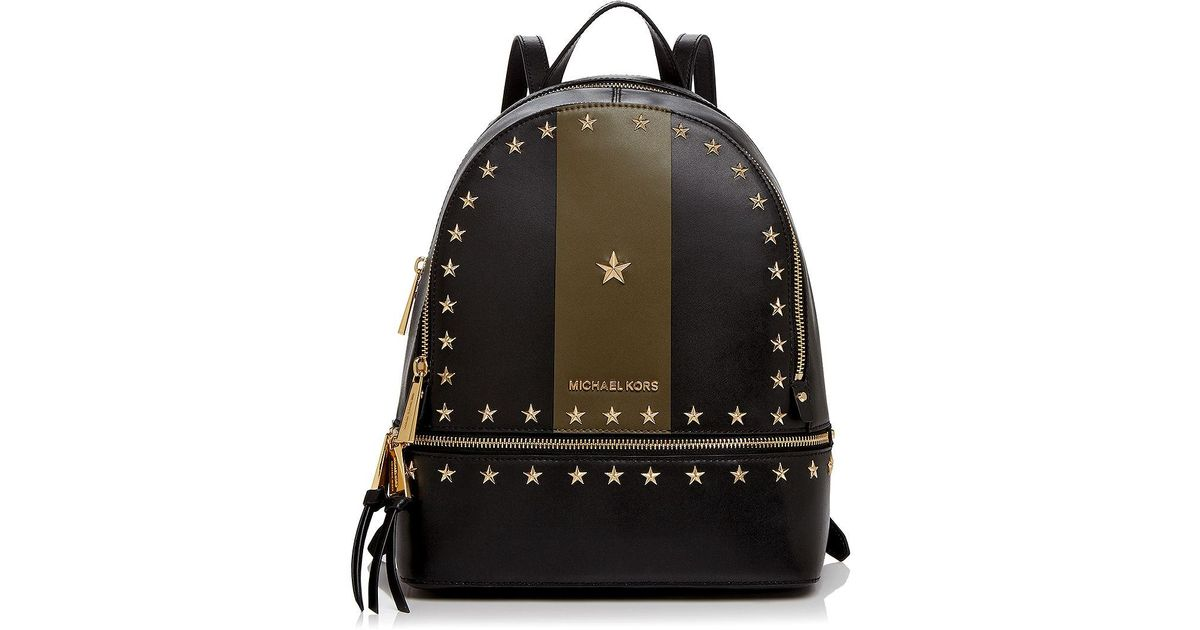 2c0b011864fc1 ... where can i buy lyst michael michael kors rhea star stud medium leather  backpack a3402 fa56e ...